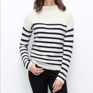 Ann Taylor w/ Cashmere Mock Neck Striped Sweater S